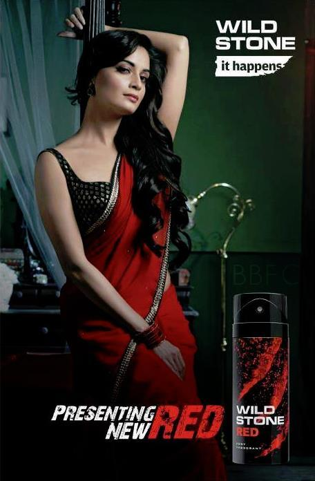 Red Hot Dia Mirza In Red Saree Gorgeous Hot Look For Red Wild Stone TVC Ad