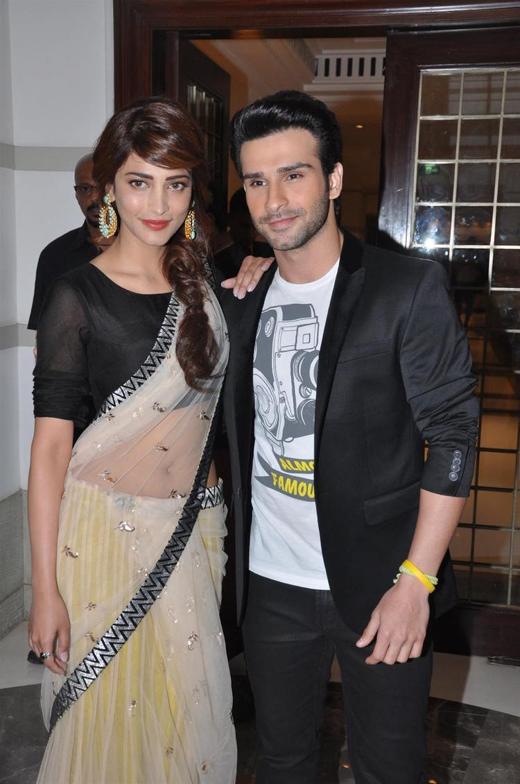 Shruti And Girish Pose For Photo At Music Launch of Bollywood Film Ramaiya Vastavaiya
