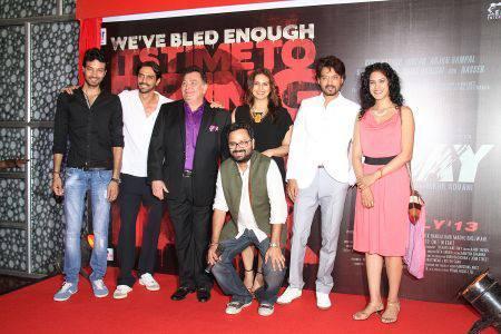 Rishi,Arjun,Huma,Irrfan,Director Nikhil Advani And Music Directors,Shankar-Ehsaan At The First Look Launch Of D-Day