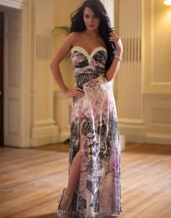 Amy Jackson Latest Hot Pose In Embellished Print Maxi Dress