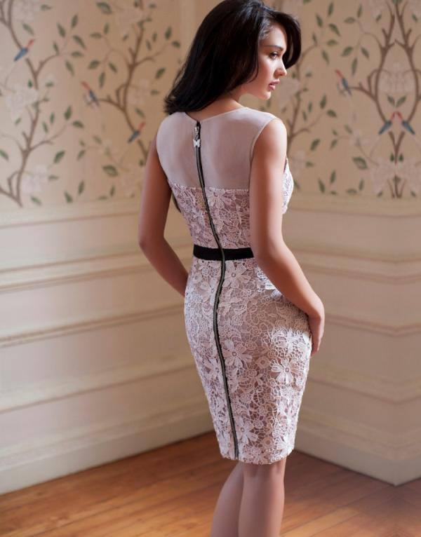 Amy Jackson In Lipsy V I P Waxed Lace Mesh Pencil Dress For Lipsy London