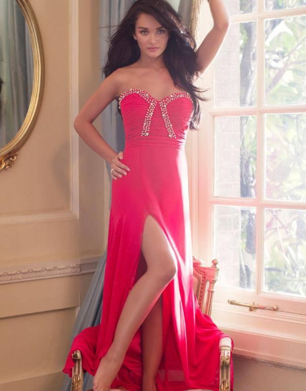 Amy Jackson Sexy Pose In Embellished Bust Maxi Dress