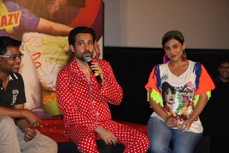 Raj Kumar,Emraan And Vidya Spotted At The Music Launch Of Ghanchakkar Song Lazy Lad