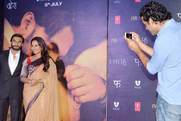 Ranveer And Sonakshi Clicked Photo By Vikramaditya At Lootera Movie Audio Release Event