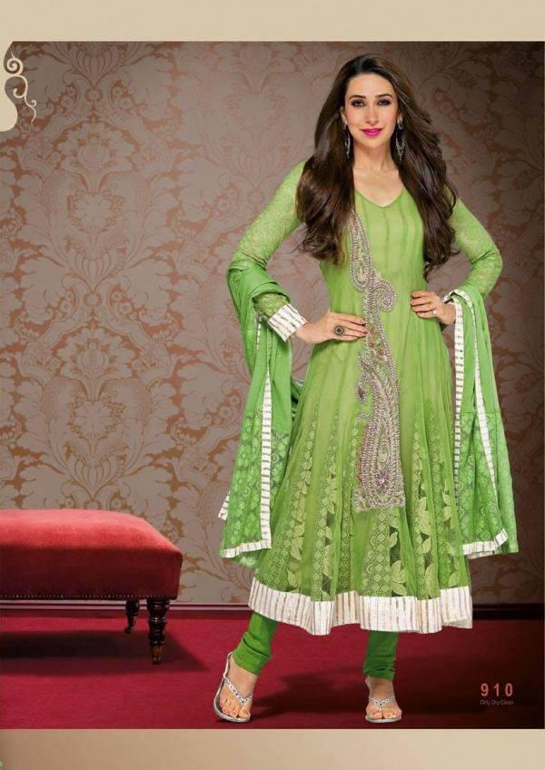 Karisma Strikes A Playful Pose In Light Green Color Dress