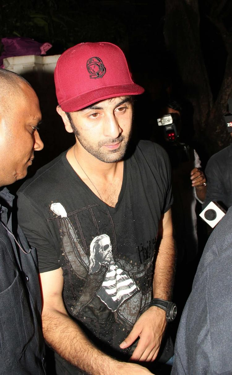 Ranbir Kapoor In Black T Shirt At Arjun Kapoor's Birthday Bash
