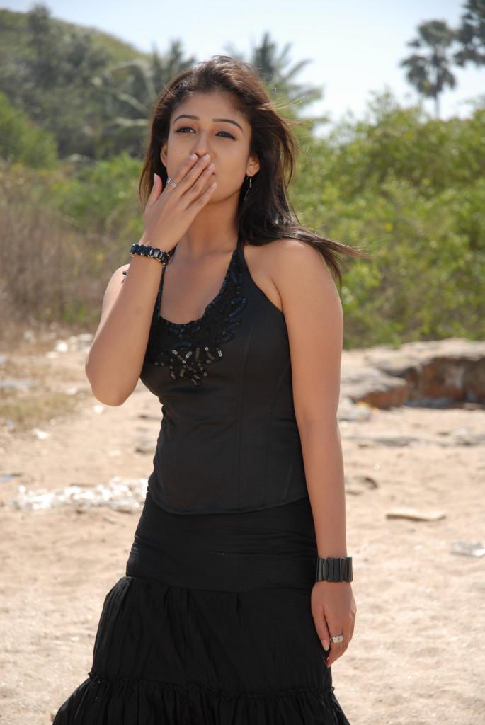 Nayanthara In Black Dress Cool Kissing Pose Photo Still