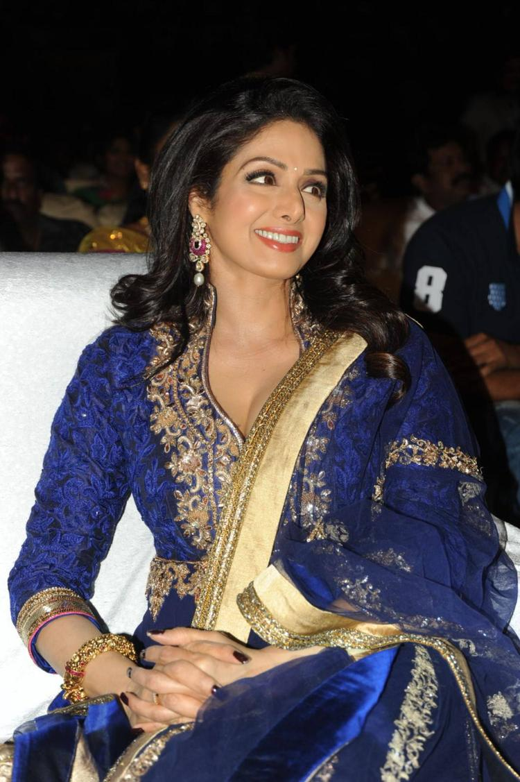Sridevi Kapoor Cool Smiling During The Tollywood Cinema Channel Launch Event