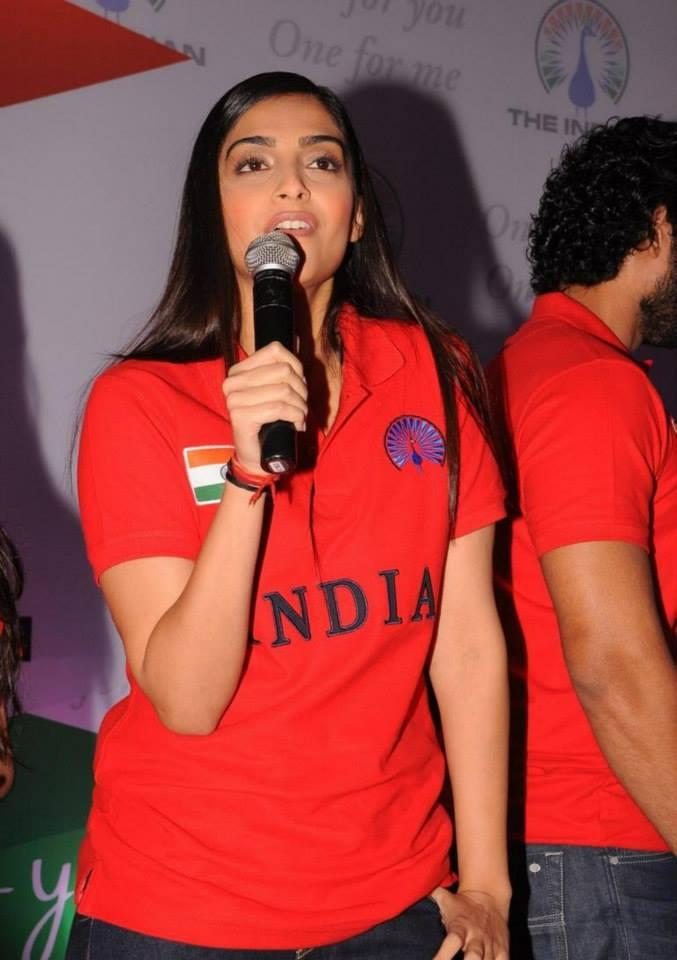 Sonam Kapoor Addresses The Audience At The Indian Brand Launch Event