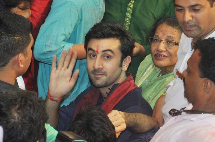 Ranbir Kapoor Waves To The Camera At Lalbaugcha Raja Ganpati Pandal
