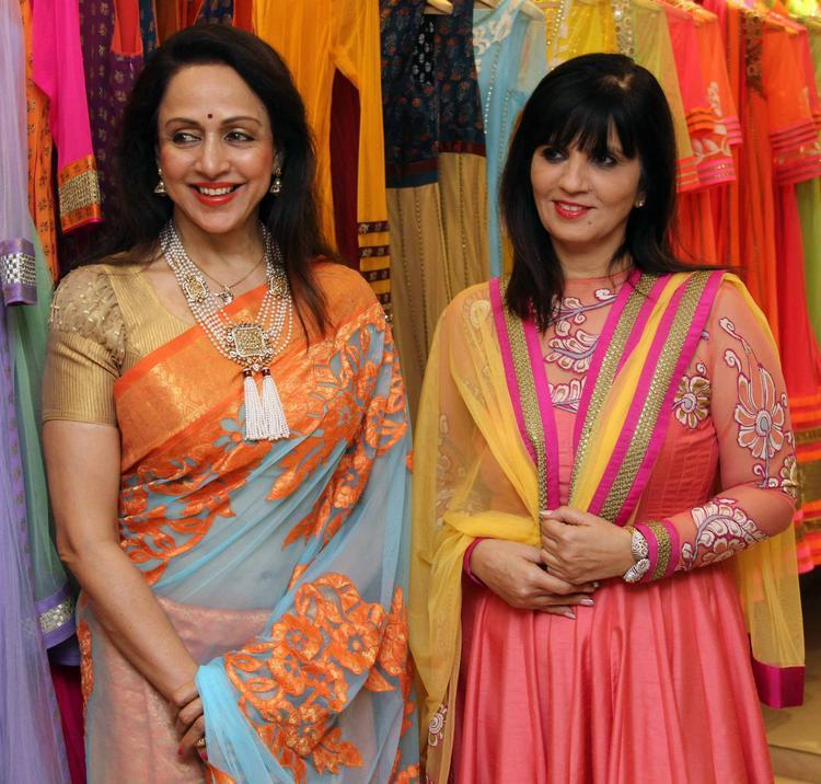 Hema Malini Smiling Pose With Designer Neeta Lulla At Neeta Lulla's Flagship Store