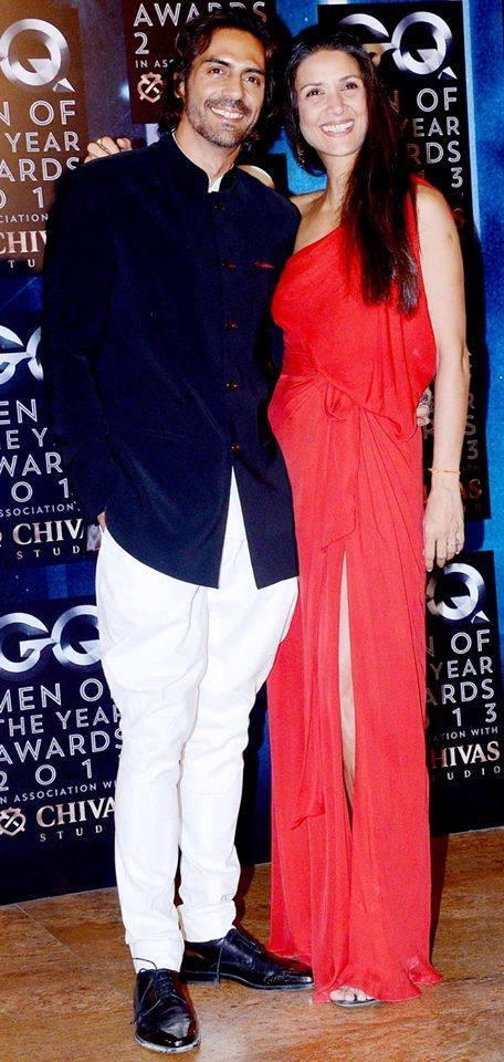Arjun With Wife Mehr Smiling Look At GQ Men Of The Year Awards 2013
