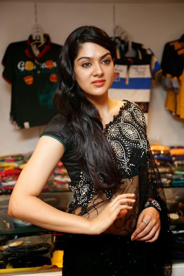Sakshi Choudhary In Black Saree Strikes A Pose During The Launch Of Kalamandir Store