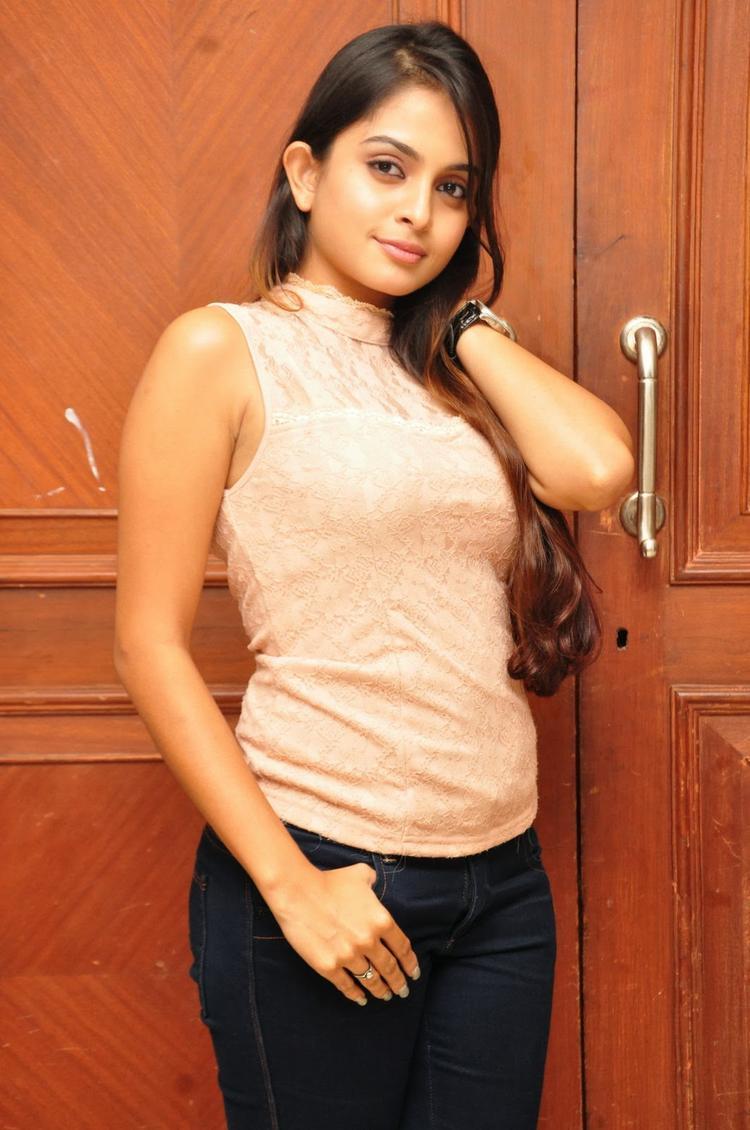 Sheena Shahabadi Stunning Face Look At Nuvve Naa Bangaram Movie Logo Launch Function