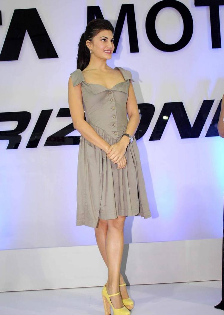 Bollywood Hottie Jacqueline Fernandez Spotted At The Tata Nano Booth At This Auto Event