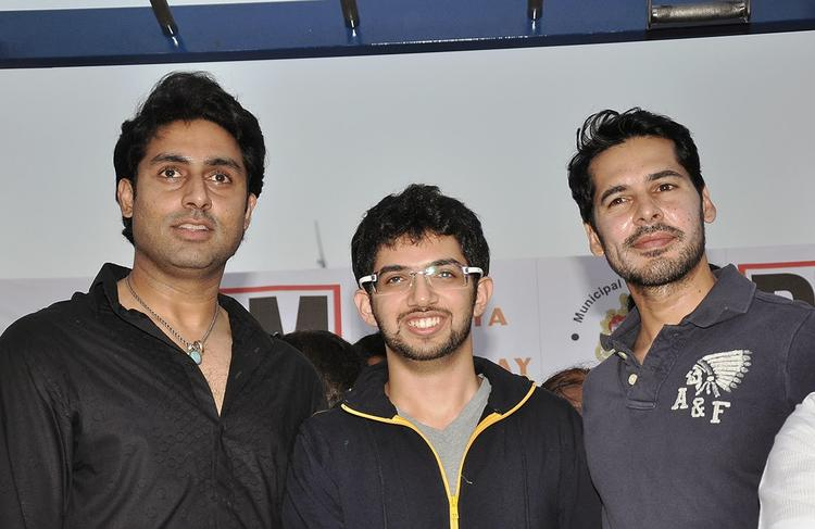 Aditya,Abhishek And Dino Pose During The Inauguration Of DM Fitness Centre
