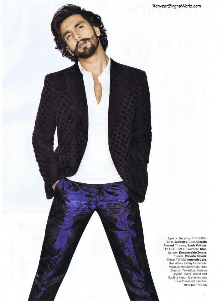 Ranveer Singh Dappers Look For Harper's Bazaar Man Nov 2013 Issue