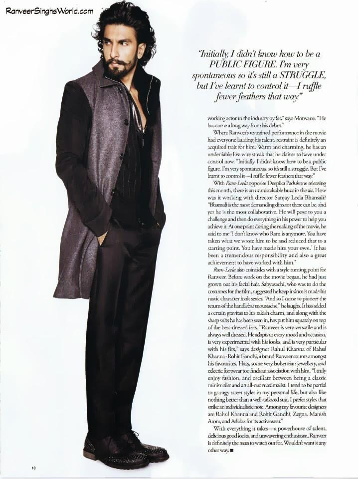 Ranveer Singh Glamour Stylish Look Photo Shoot For Harper's Bazaar Man Nov 2013 Issue