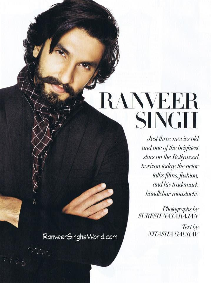 Ranveer Singh Handsome Look For Harper's Bazaar Man Nov 2013 Issue