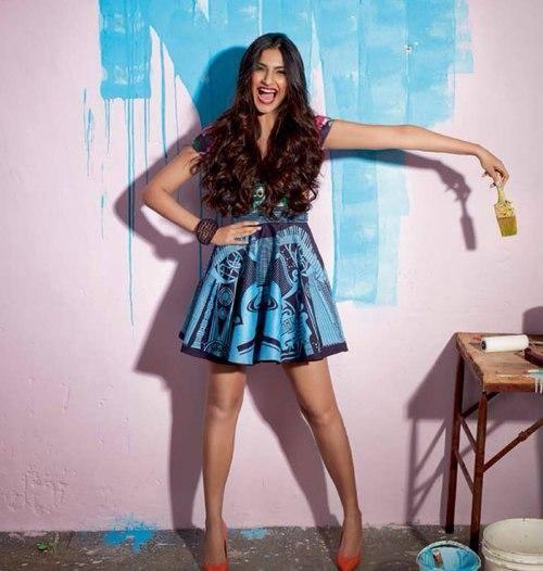 Sonam Kapoor Cool Smiling Look Shoot For Cosmopolitan November 2013 Issue