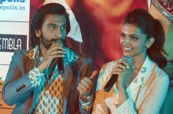 Ranveer And Deepika Still During Ram Leela Movie Press Meet In Bangaluru
