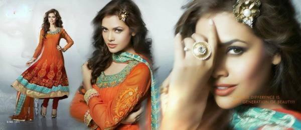 Esha Gupta Nice Pose In Fantastic Orange Color Salwar Kameez