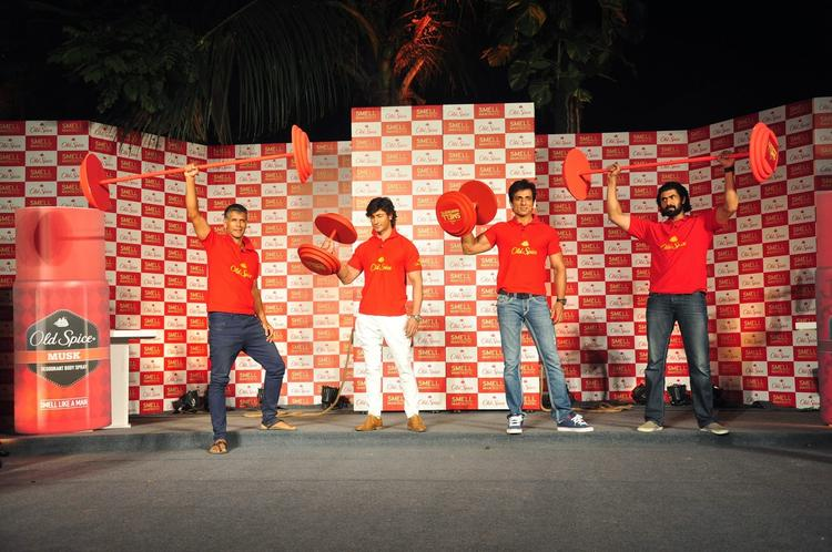 Milind,Vidyut,Sonu And Rana Flexing Their Muscles During The Launch Of Old Spice's Smell Mantastic Deodorant