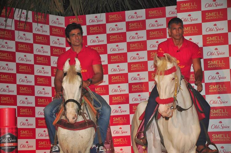 Sonu Sood And Milind Soman Horse Riding Pose At Old Spice's Deodorant Launch Event