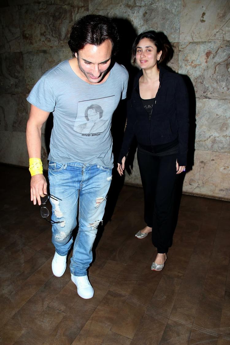 Saif And Kareena Present At The Screening Of Bullet Raja Movie