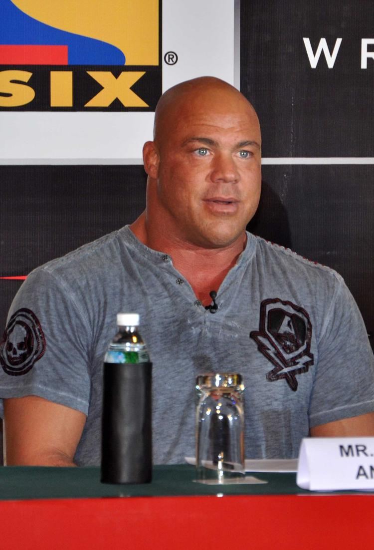 Kurt Angle Addresses At The Media Press Conference For Sony Six And TNA