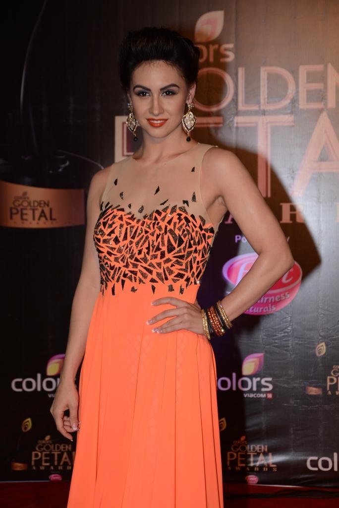 Dancer Lauren Gottlieb Stunned In An Orange Gown At Colors TV 3rd Golden Petal Awards 2013