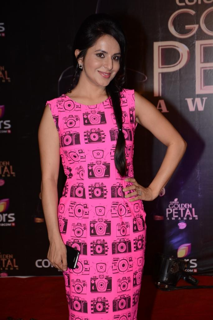 Roop Durgapal Tried Something Different With Her Pink Attire At Colors TV 3rd Golden Petal Awards 2013