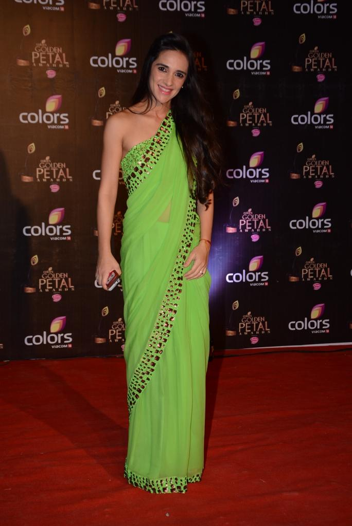 Tara Sharma Dazzled In Apple Green Saree At Colors TV 3rd Golden Petal Awards 2013