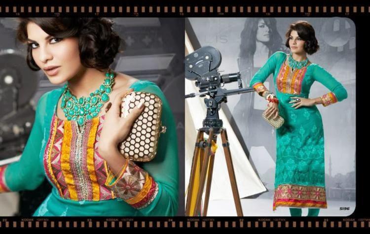 Fashianist Jacqueline Cute Spicy Pic In Green Salwar Kameez