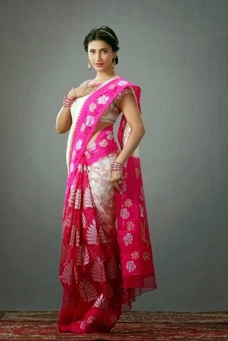 Shruti Haasan In Pink Saree With Sleeveless Blouse And Open Hair Style