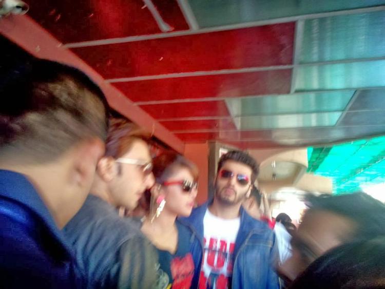 Ranveer,Priyanka And Arjun Promote Gunday At Gaiety Theatre