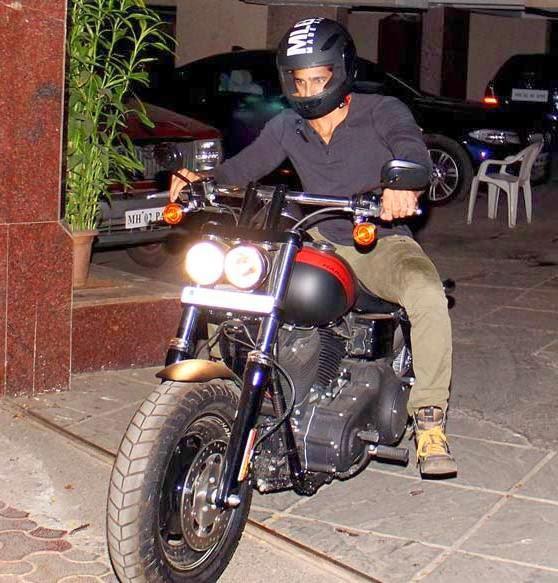 Sidharth Malhotra Dashing Look With Bike At Outside Of Karan Johar's House