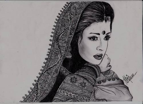 Aishwarya Rai Bachchan - The Lady With Exquisite Eyes Dazzling Look Sketched Painting Photo Still