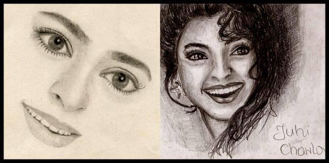 Juhi Chawla - The Charming Beauty Smiling Look Sketched Painting Photo Still
