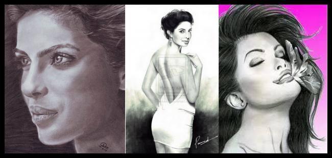 Priyanka Chopra - The Sexy Siren Sizzling Look Sketched Painting Photo Still