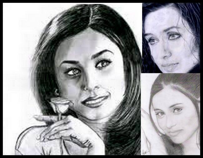 Rani Mukerji  - The Honey Eyed Lady Amazing Look Sketched Painting Photo Still