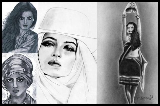 Rekha - The Evergreen Sensuous Woman Hot Look Sketched Painting Photo Still