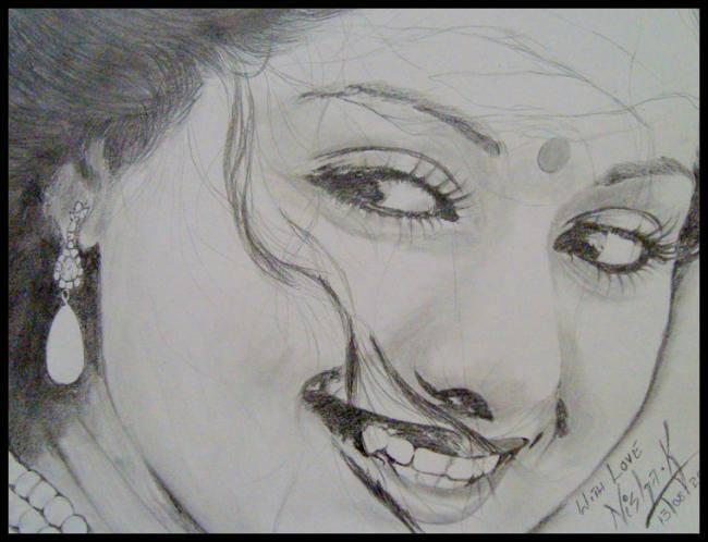 Sridevi - The Queen Of All Queens Cute Smiling Look Sketched Painting Photo Still