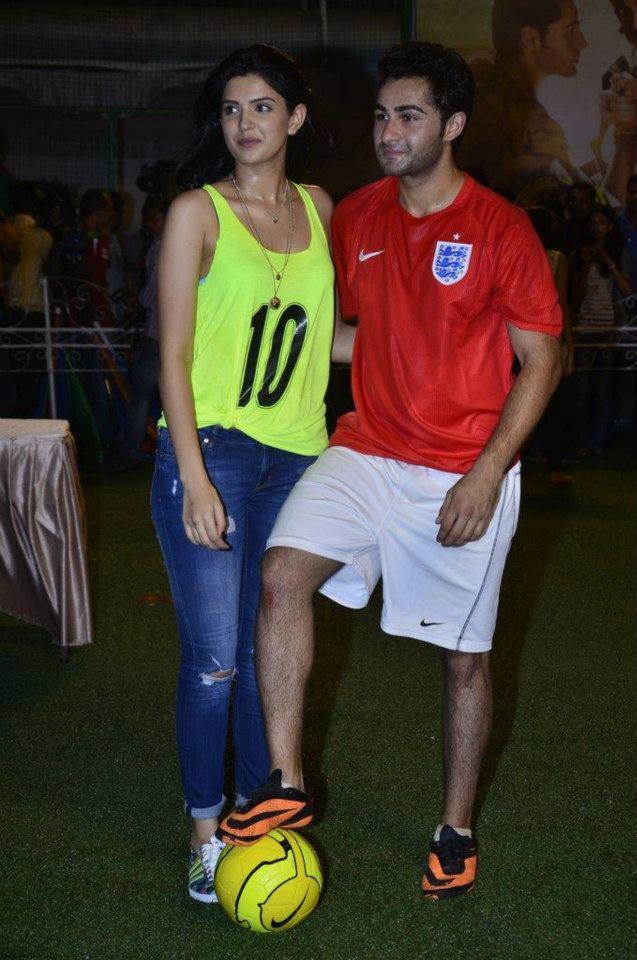Deeksha Seth And Armaan Jain Posed With Football During The Promotion Of Lekar Hum Deewana Dil Movie