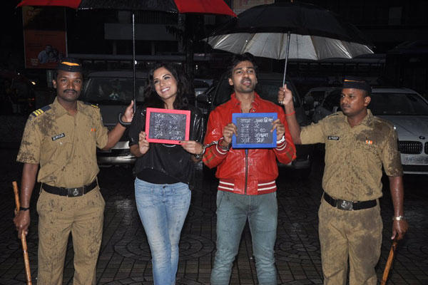 Richa Chadda And Nikhil Dwivedi Funny Pose During The Trailer Launch Of Tamanchey