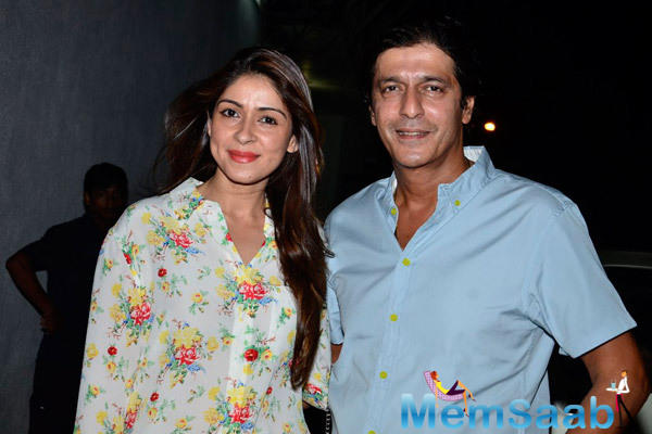 Chunky Pandey With Wife Bhavna Pandey Posed During The Screening Of Finding Fanny Hosted By Homi Adajania