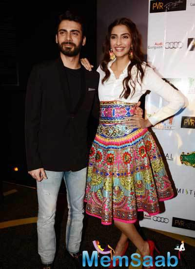 Fawad Khan And Sonam Kapoor Posed For Camera At The Promotion Of  Khoobsurat Movie In Delhi