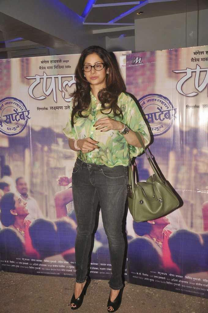 Sridevi Kapoor Trendy Pose At Marathi Movie Tapaal Screening