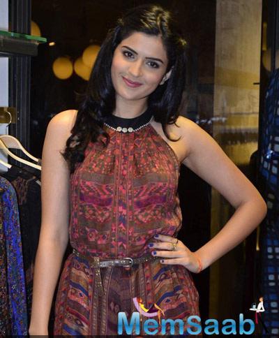 Deeksha Seth Strike A Charming Cute Pose For Shutterbug Of Ritu Kumar's Store Launch