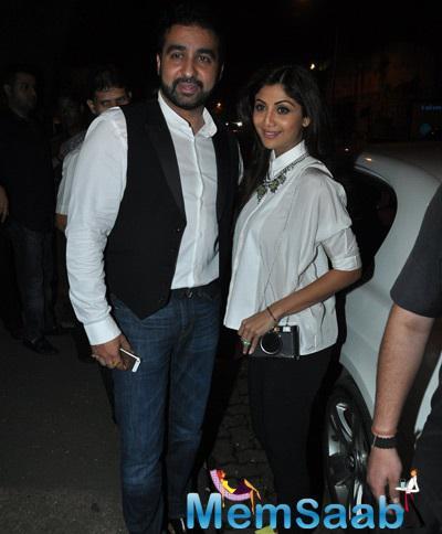 Raj Strikes A Pose With Wife Shilpa During The Tabu's Birthday Bash
